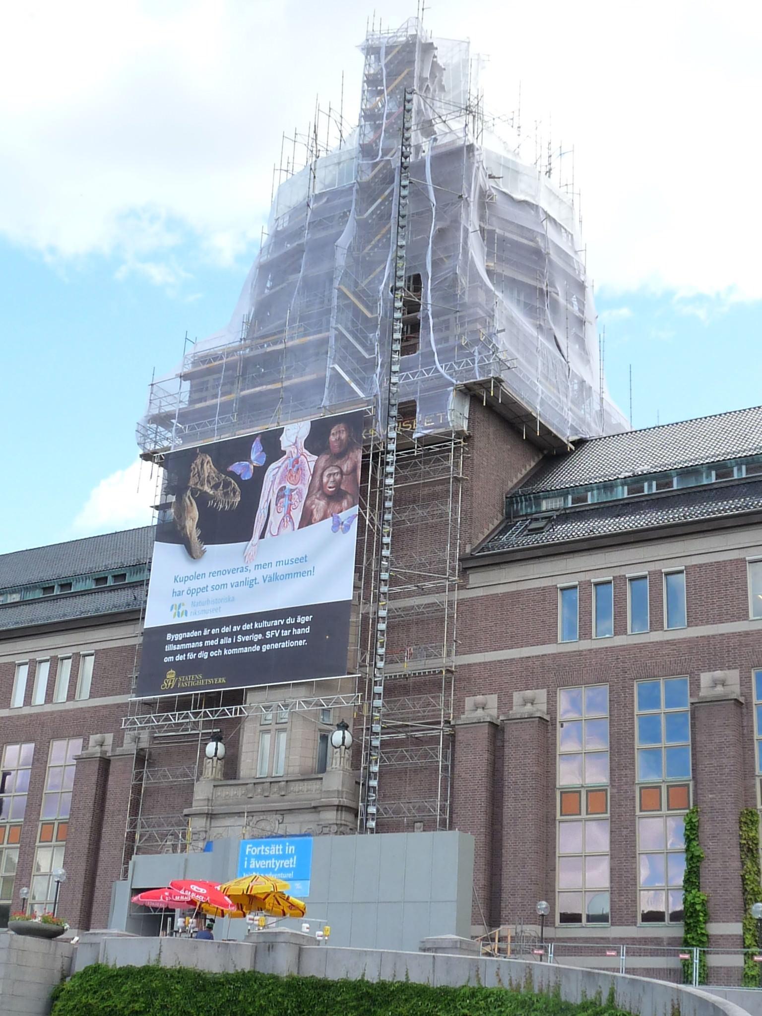 Byggställning på naturhistoriska riksmuseet