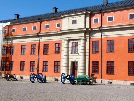 Putsad fasad Vaxholms kastell