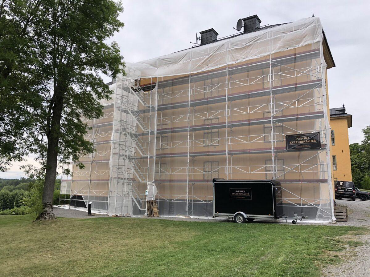 Byggställning sydöstra fasaden Wenngarns Slott