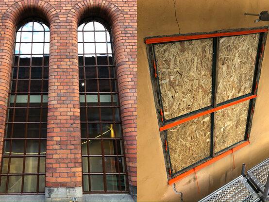 Till vänster industrifönster till höger fönsterkarm under renovering på wenngarns slott
